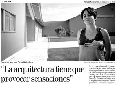 Diario de Navarra. Entrevista a Eva Luque. Ultzama. Generación Próxima