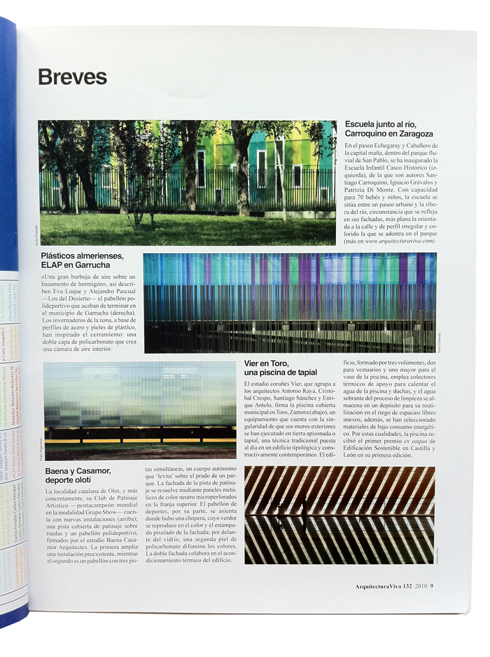 Breves ARQUITECTURA VIVA, Issue #132. Pabellón Deportivo en Garrucha_Elap